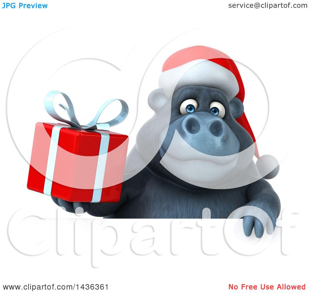 Clipart of a 3d Christmas Gorilla Mascot Wearing a Santa ...