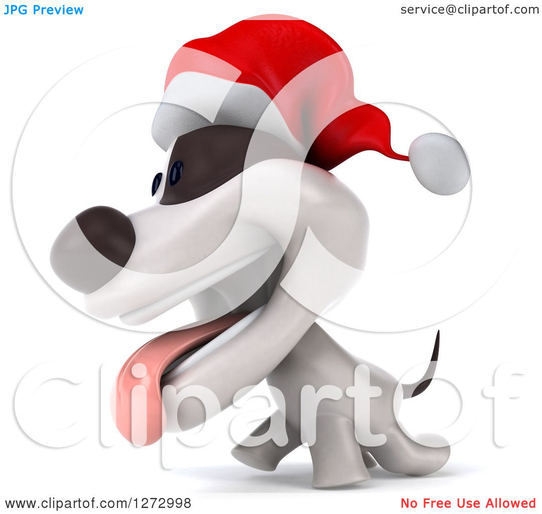 Clipart Of A 3d Christmas Jack Russell Terrier Dog Panting
