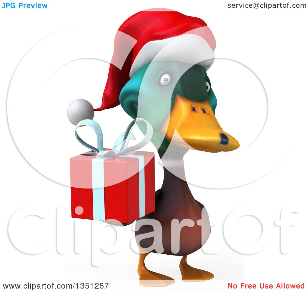 Clipart of a 3d Christmas Mallard Drake Duck Holding a Gift - Royalty ...