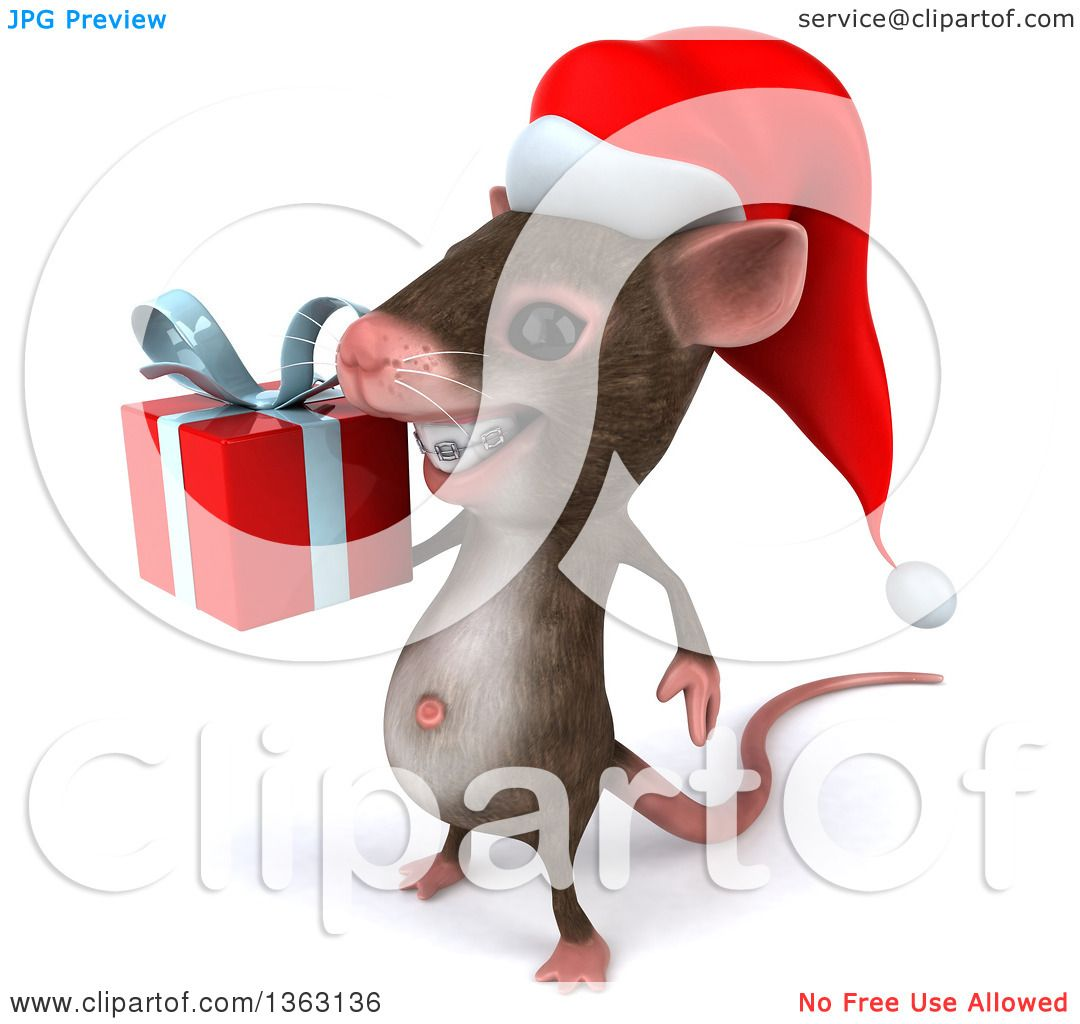 Clipart of a 3d Christmas Mouse with Braces, Holding a Gift, on a ...