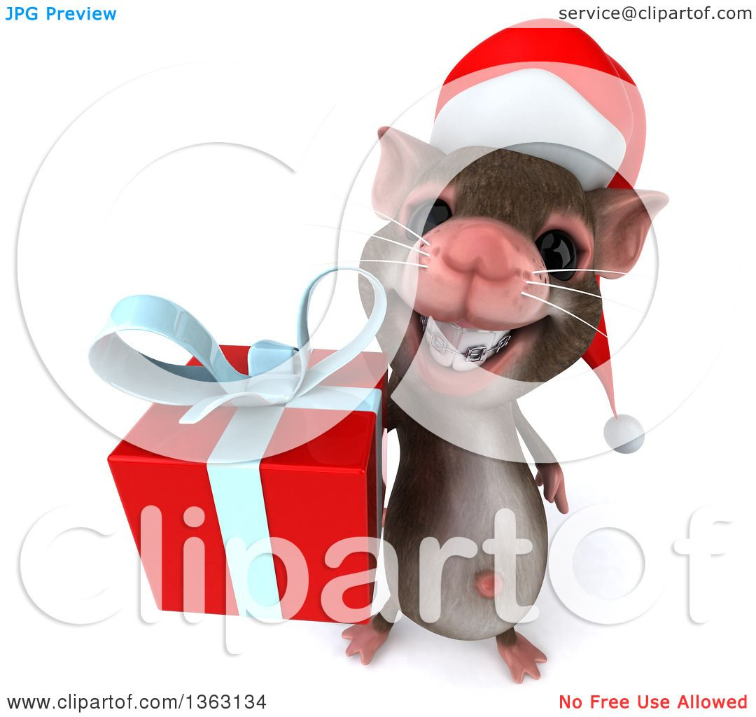 Clipart of a 3d Christmas Mouse with Braces, Holding up a Gift, on ...