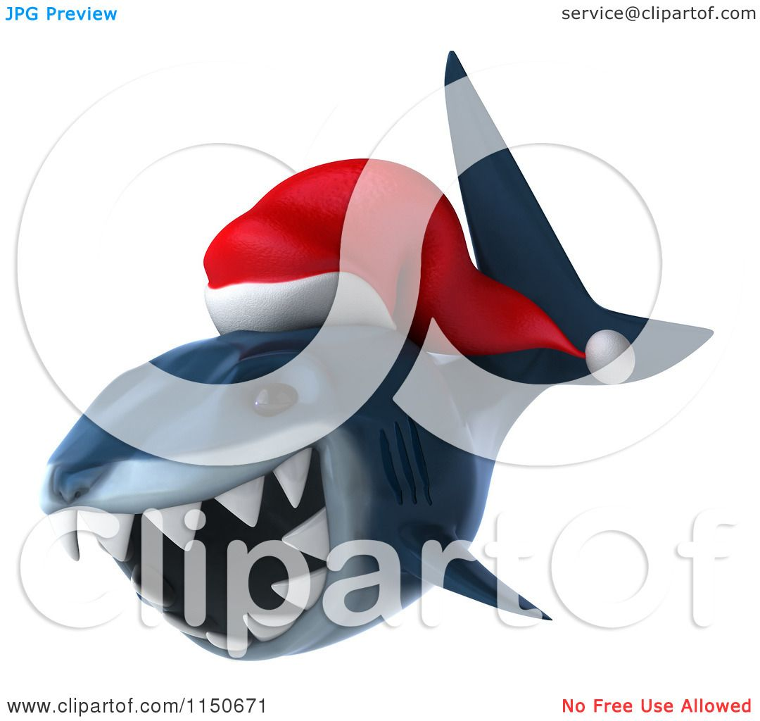 Clipart Of A 3d Christmas Shark Wearing A Santa Hat 2