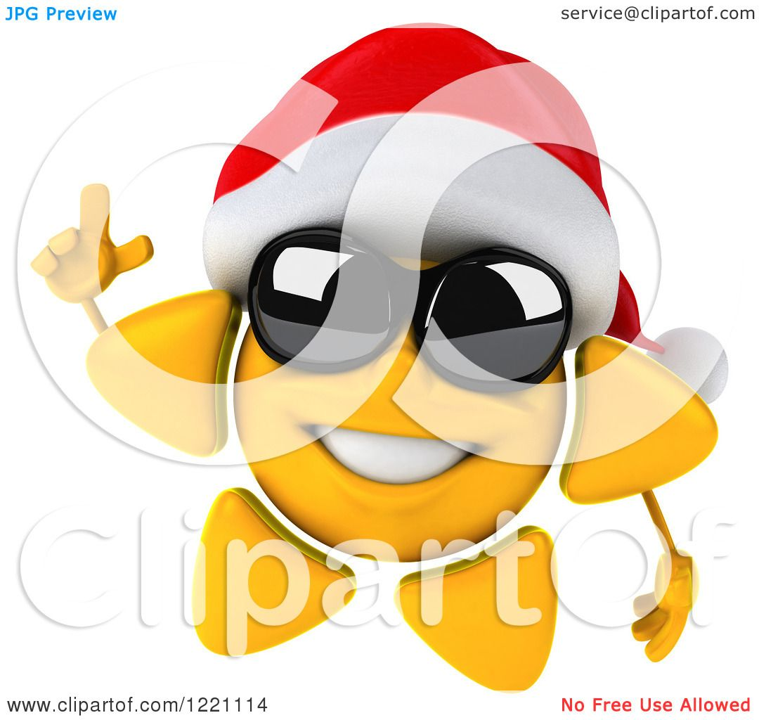 Clipart of a 3d Christmas Sun Mascot Wearing Shades and a ...
