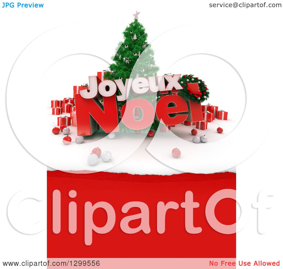 Joyeux Noel Clipart.Clipart Of A 3d Christmas Tree With Baubles Gifts And