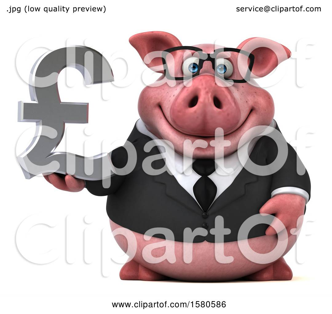 Clipart Of A 3d Chubby Business Pig Holding A Pound Currency Symbol