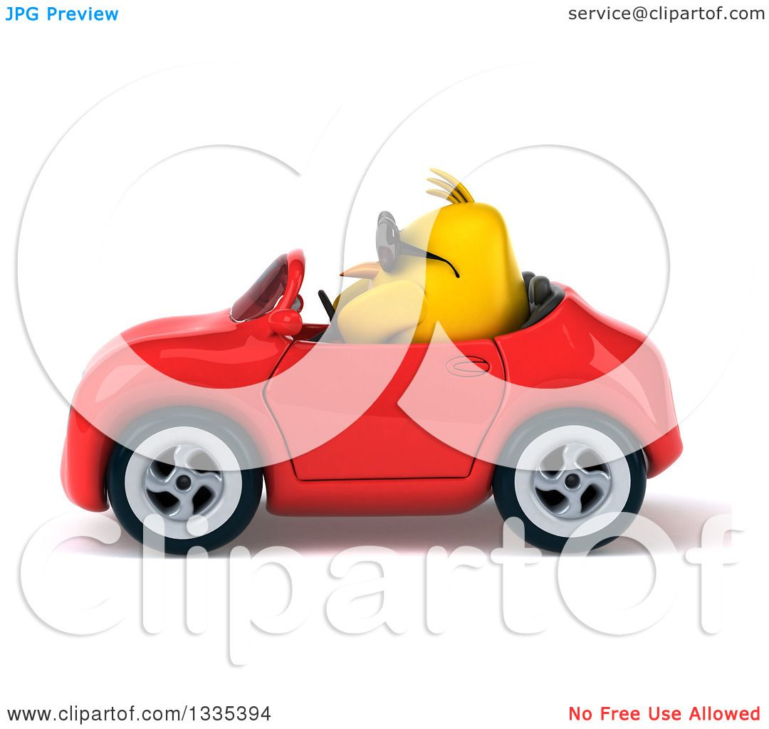 Clipart of a 3d Chubby Yellow Bird Chicken Wearing