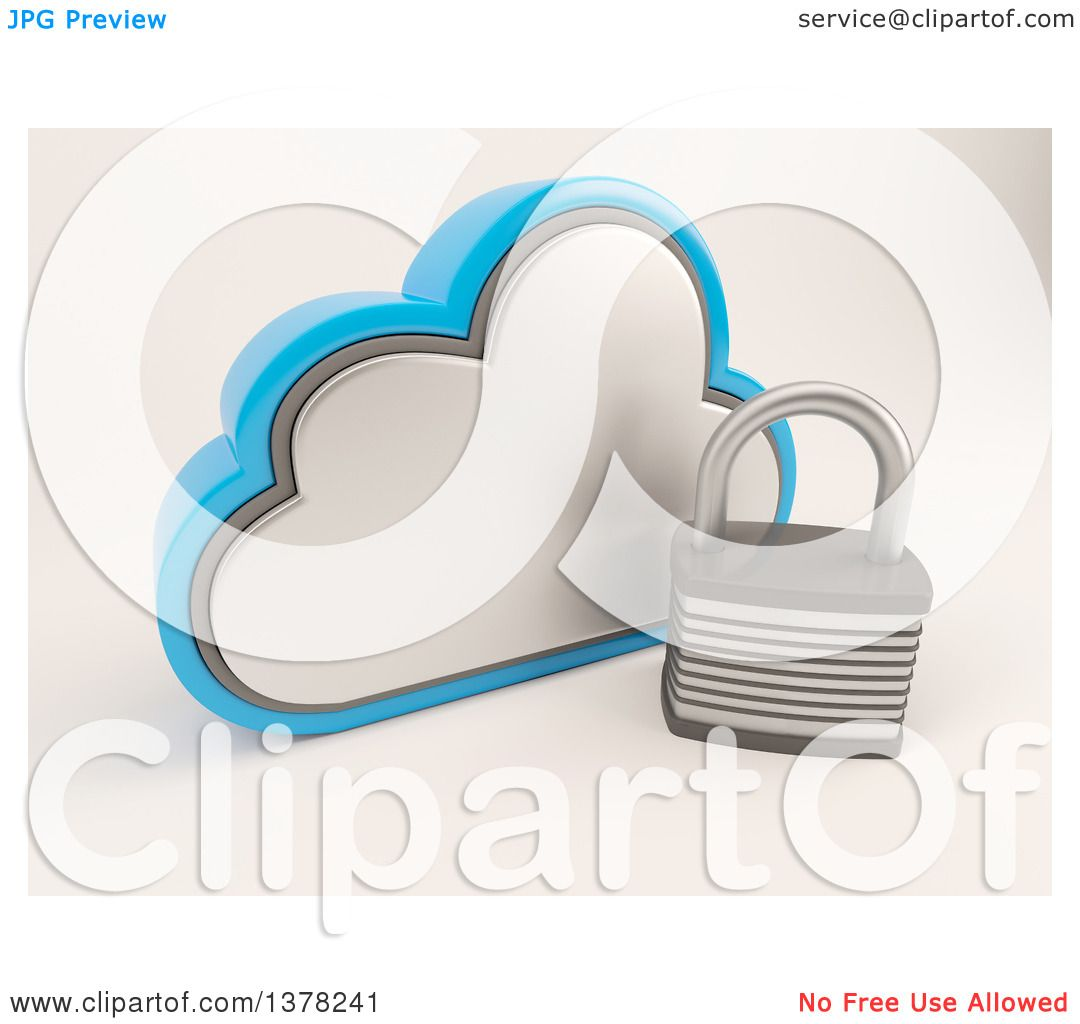 Clipart of a 3d Cloud Icon with a Padlock, on Shaded White ...
