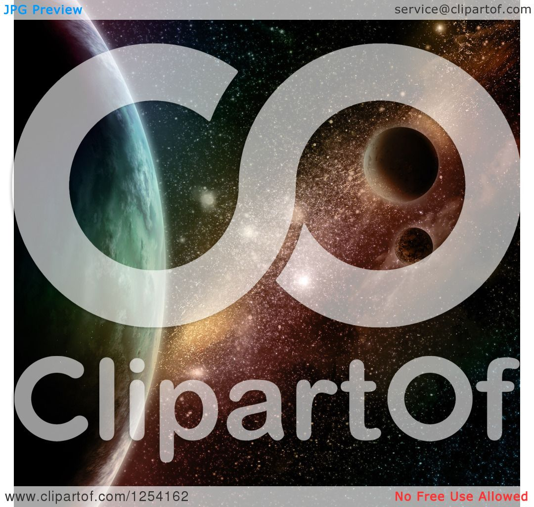 Clipart of a 3d Colorful Starfield with Planets - Royalty Free ...