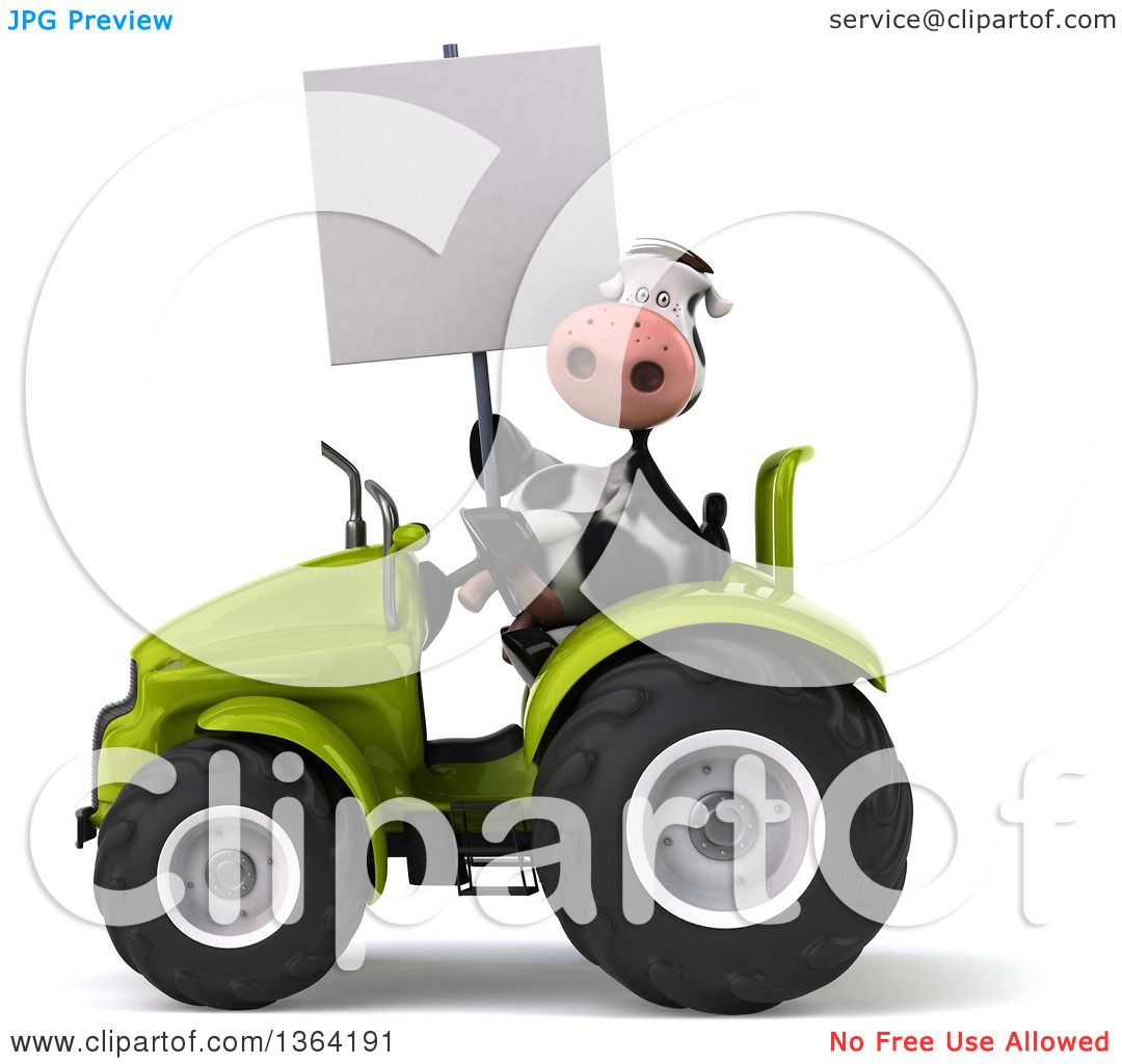 Clipart Of A 3d Cow Farmer Holding A Blank Sign And Operating A