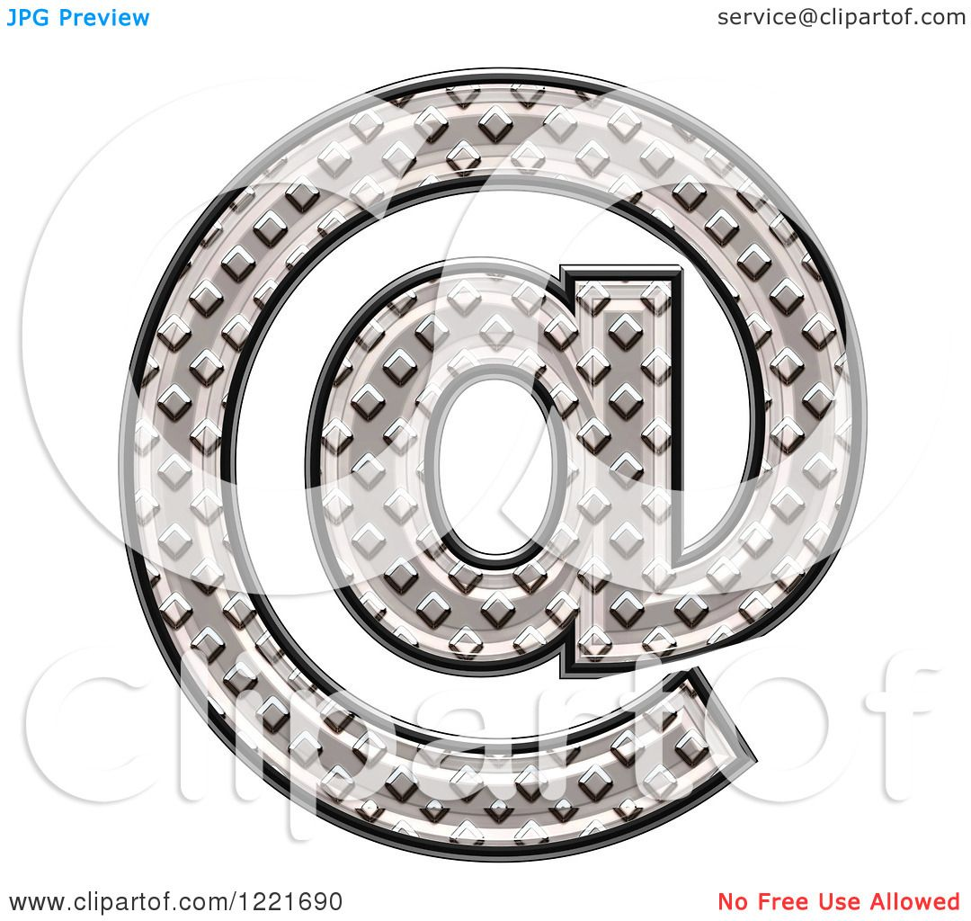 clipart of a 3d diamond plate arobase email symbol royalty free illustration by chrisroll 1221690. Black Bedroom Furniture Sets. Home Design Ideas