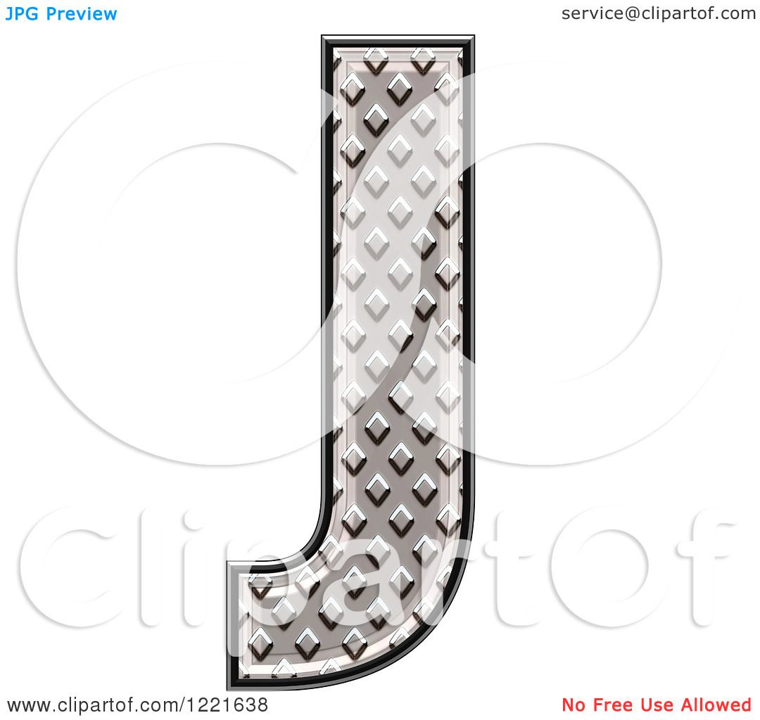 clipart of a 3d diamond plate capital letter j royalty free illustration by chrisroll 1221638. Black Bedroom Furniture Sets. Home Design Ideas