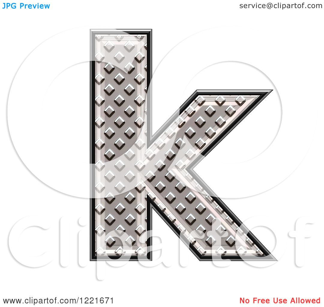 clipart of a 3d diamond plate lowercase letter k royalty free illustration by chrisroll 1221671. Black Bedroom Furniture Sets. Home Design Ideas