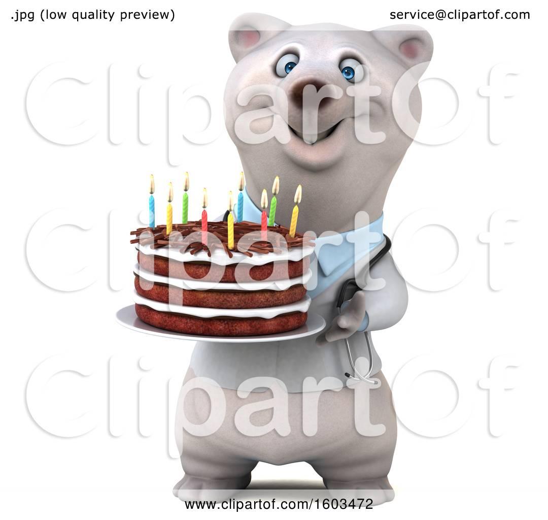 Clipart Of A 3d Doctor Polar Bear Holding A Birthday Cake On A