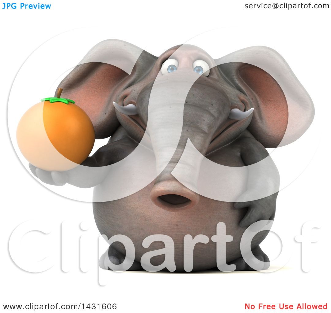 Clipart of a 3d Elephant Holding an Orange, on a White ...