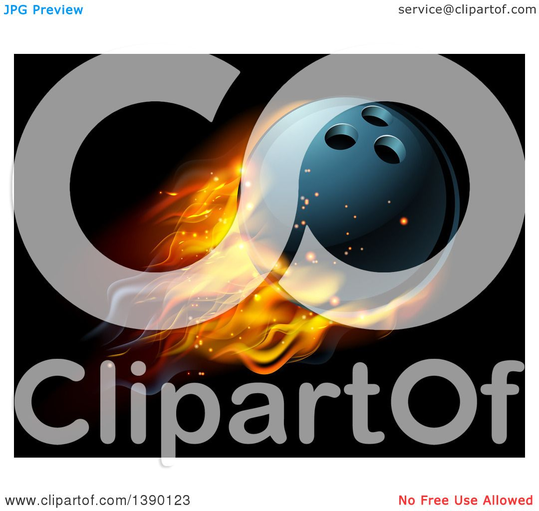Clipart Of A 3d Fiery Bowling Ball Flying Over Black