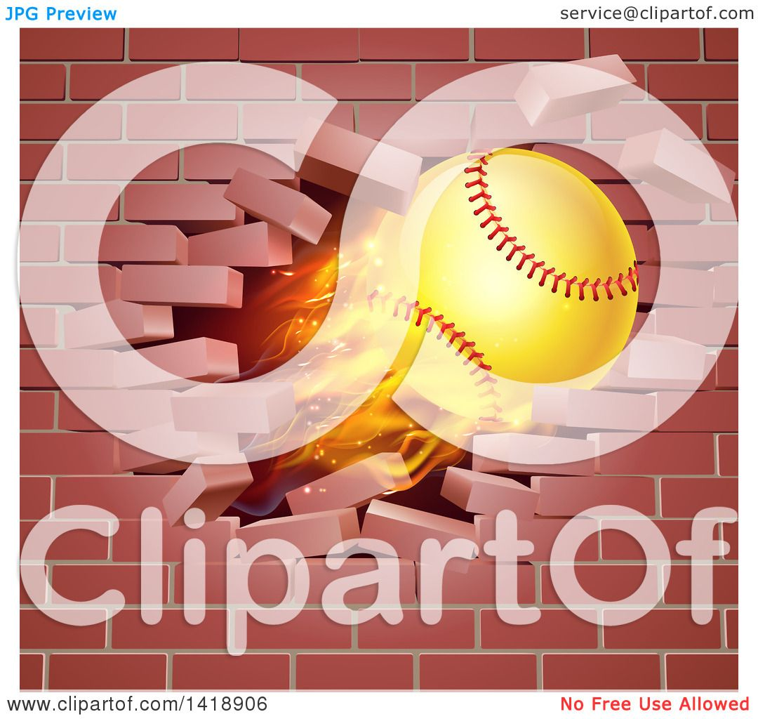 Clipart of a 3d Flying and Blazing Softball with a Trail of Flames ...