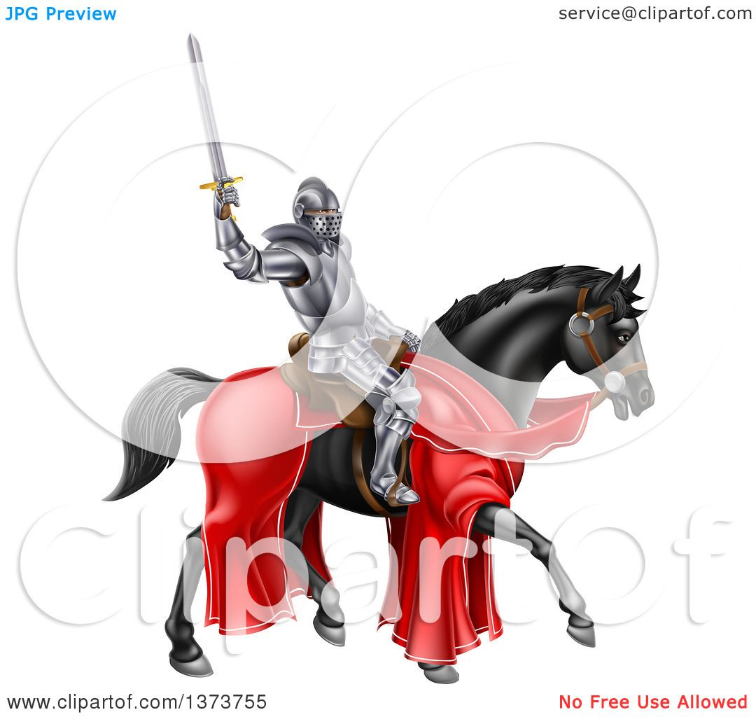 clipart 3d mounted knight with a banner flag royalty free vector