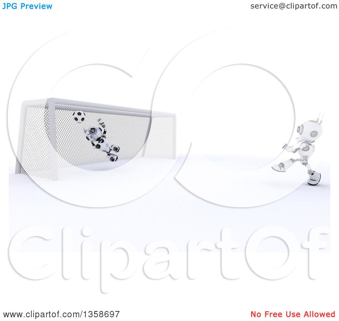 clipart of a 3d futuristic robot kicking a soccer ball