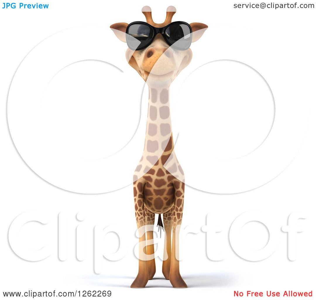Clipart Of A 3d Giraffe Wearing Sunglasses Royalty Free