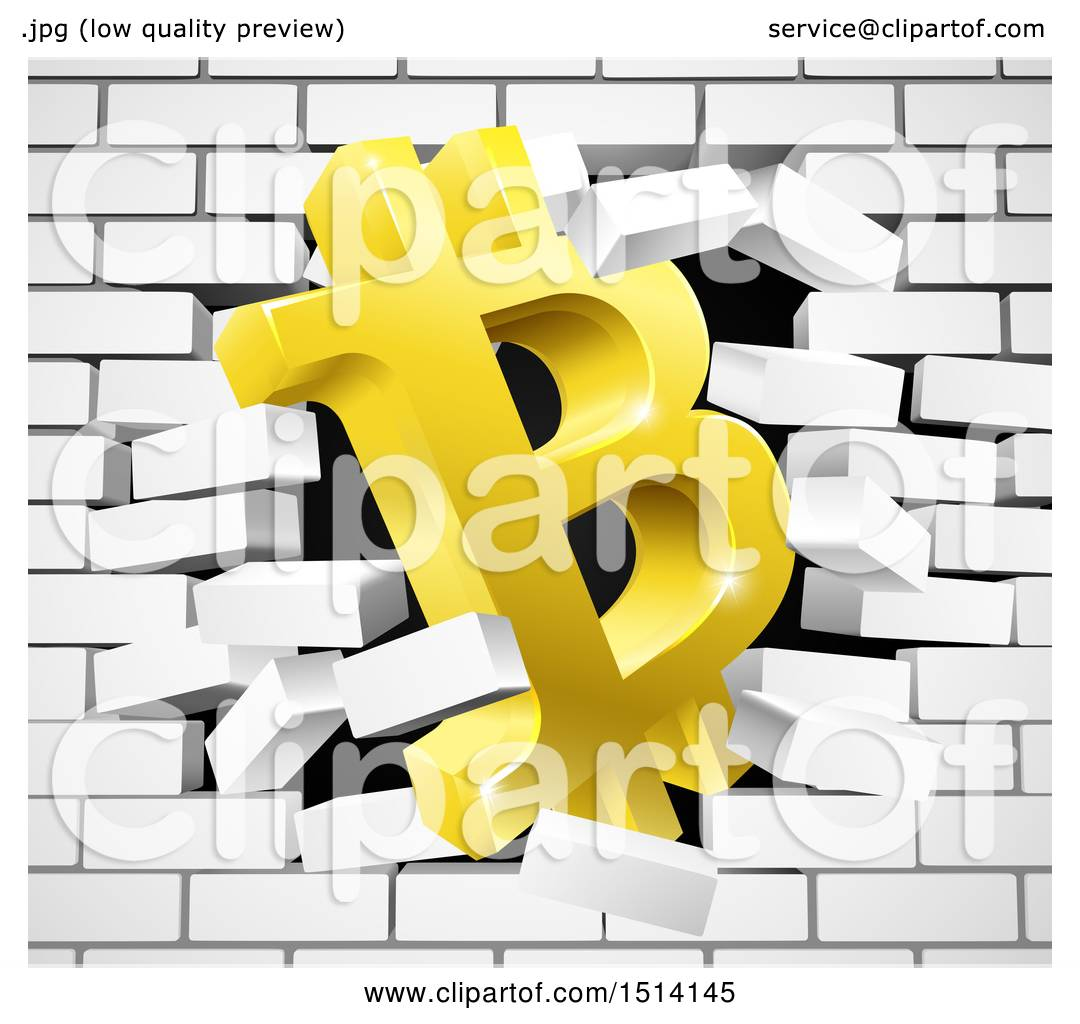 Clipart of a 3d Gold Bitcoin Currency Symbol Breaking Through a ...