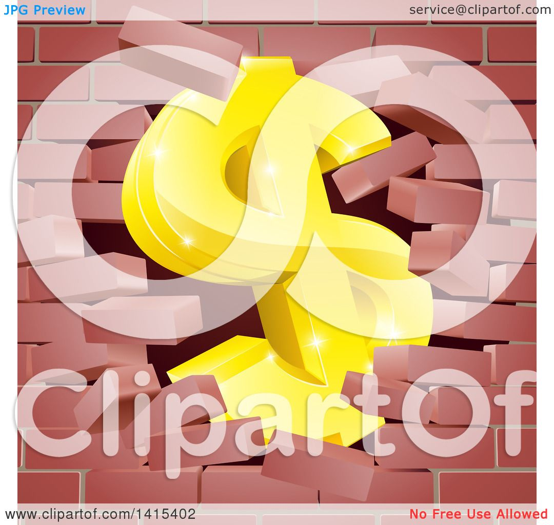 Clipart of a 3d Gold Dollar Currency Symbol Breaking Through a Red ...