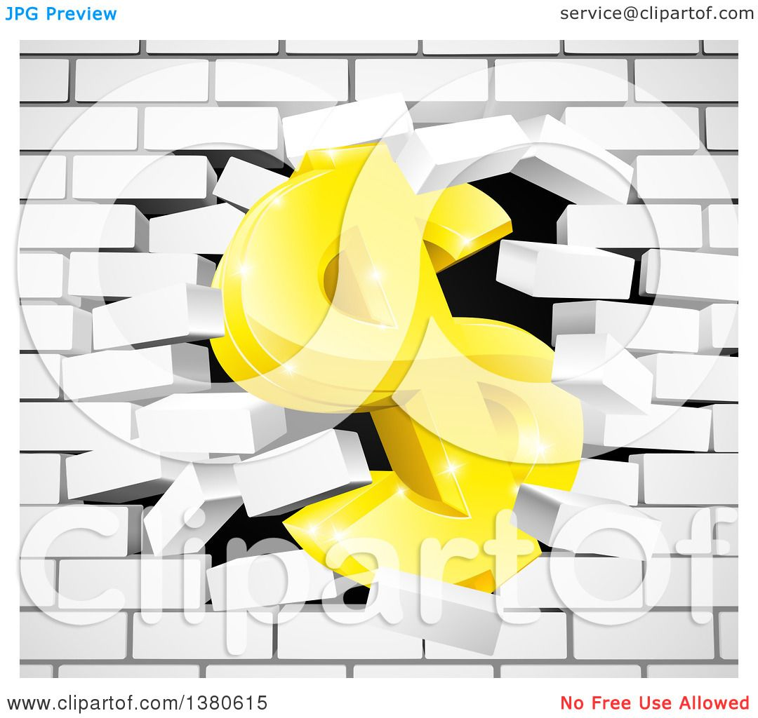 Clipart of a 3d Gold Dollar Currency Symbol Breaking Through a White ...