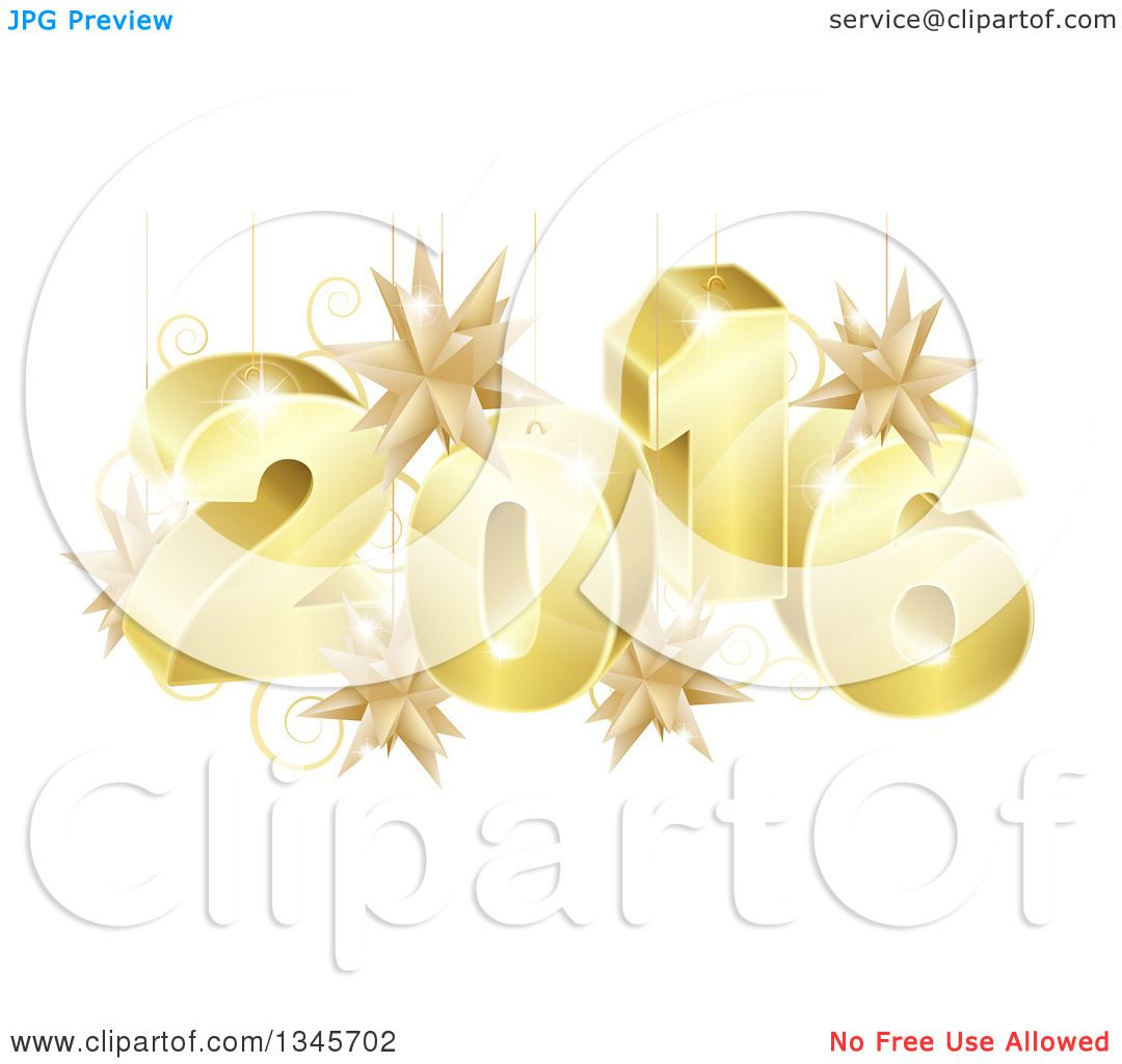 Gold star ornaments - Clipart Of A 3d Gold New Year 2016 With Suspended Star Ornaments Royalty Free Vector Illustration By Atstockillustration