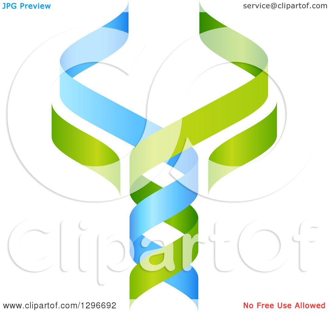 clipart of a 3d green and blue dna double helix tree shaped like a rh clipartof com Cadeuces Vector Medical Symbol Vector
