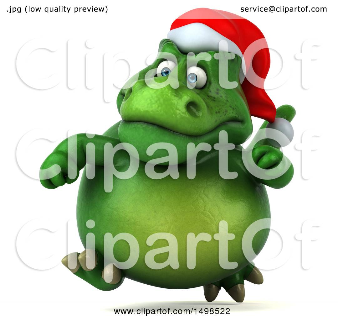 Clipart of a 3d Green Christmas T Rex Dinosaur, on a White ...
