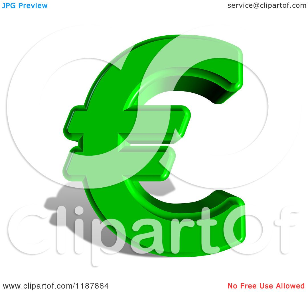 Clipart of a 3d Green Euro Symbol and Shadow on White - Royalty ...