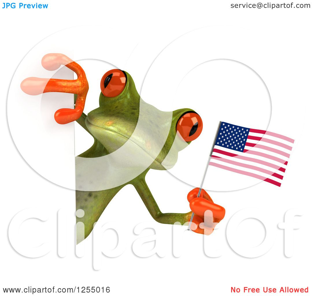 Clipart Of A 3d Green Frog Holding An American Flag Around