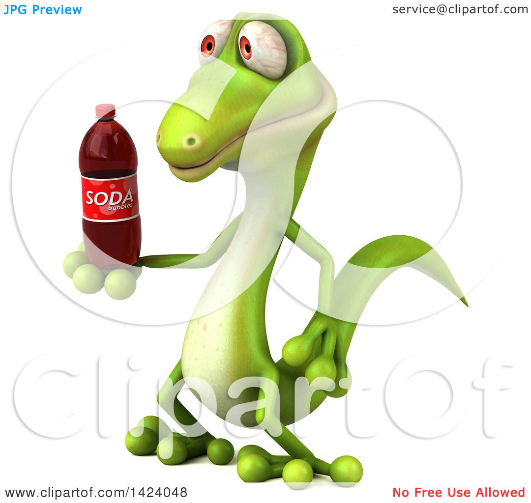 Clipart of a 3d Green Gecko Lizard, on a White Background ...