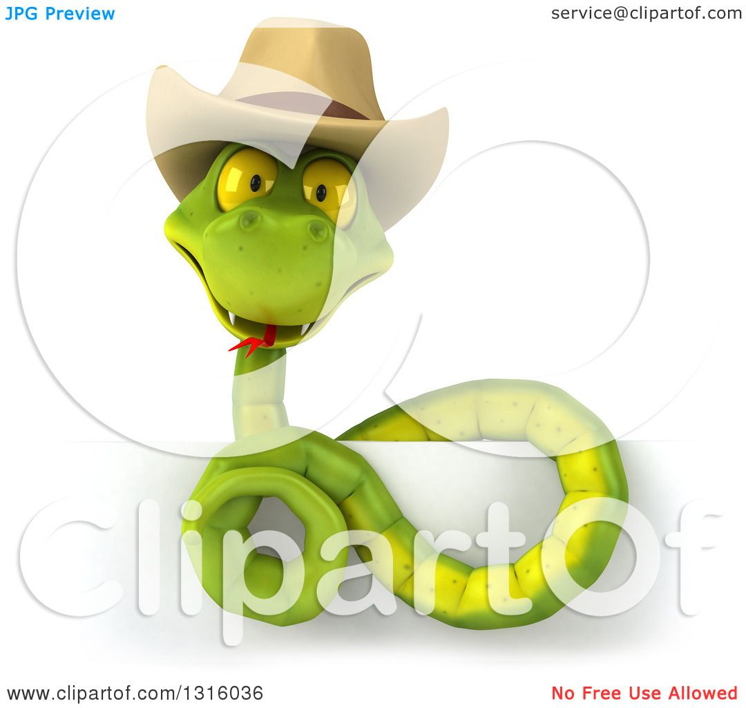 1d89745ab7e Clipart of a 3d Green Snake Wearing a Cowboy Hat Above a Sign ...