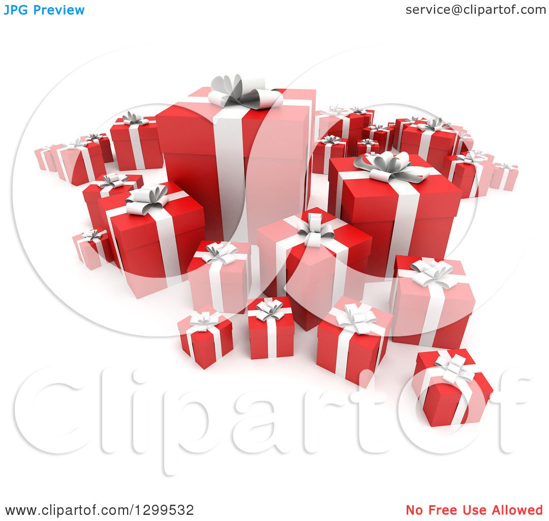 Clipart Of A 3d Group Red And White Christmas Or Birthday Gifts On 2