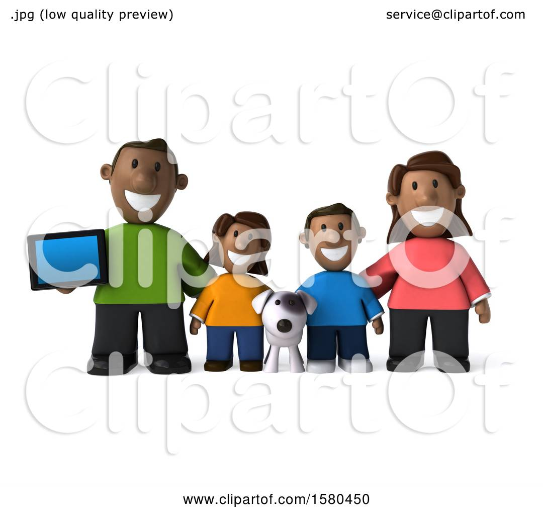 Clipart of a 3d happy black family and dog with a tablet on a white clipart of a 3d happy black family and dog with a tablet on a white background royalty free illustration by julos voltagebd Choice Image