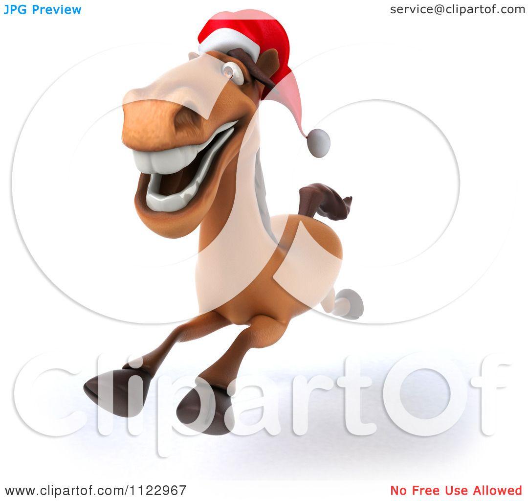 Christmas Horse Clip Art Clipart of a 3d happy