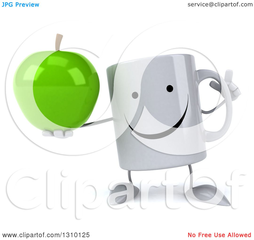 Clipart of a 3d Happy Coffee Mug Character Holding up a ...