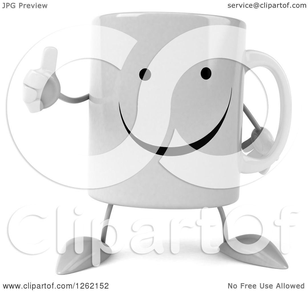 Clipart of a 3d Happy Coffee Mug Giving a Thumb up ...