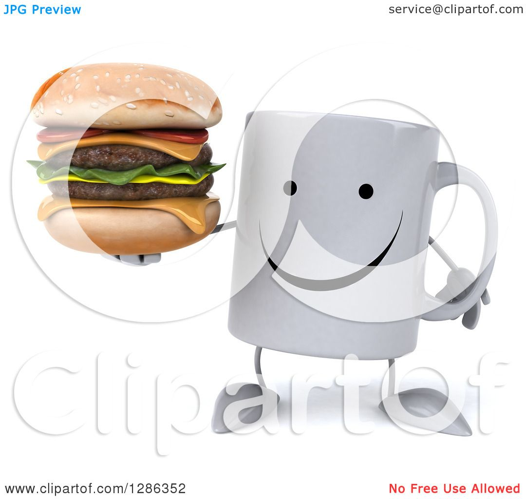 Clipart of a 3d Happy Coffee Mug Holding a Double ...