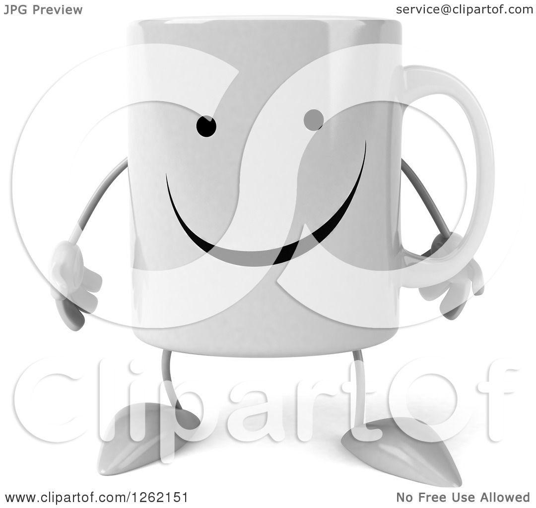 Clipart Of A 3d Happy Coffee Mug