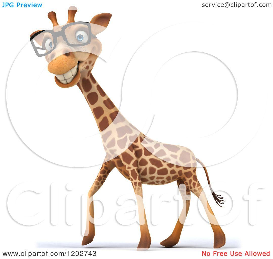 Clipart of a 3d Happy Giraffe Wearing