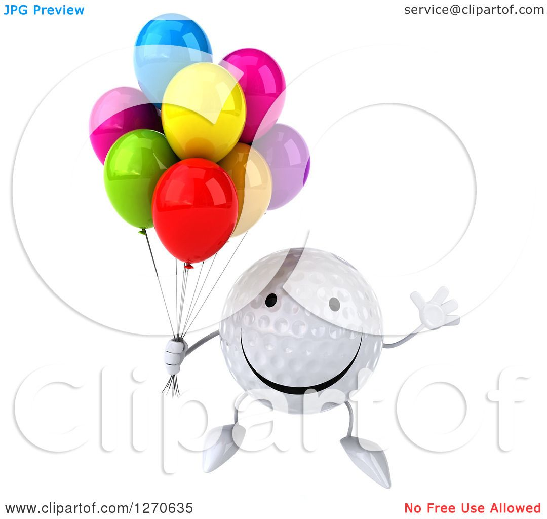 Clipart Of A 3d Happy Golf Ball Character Jumping With