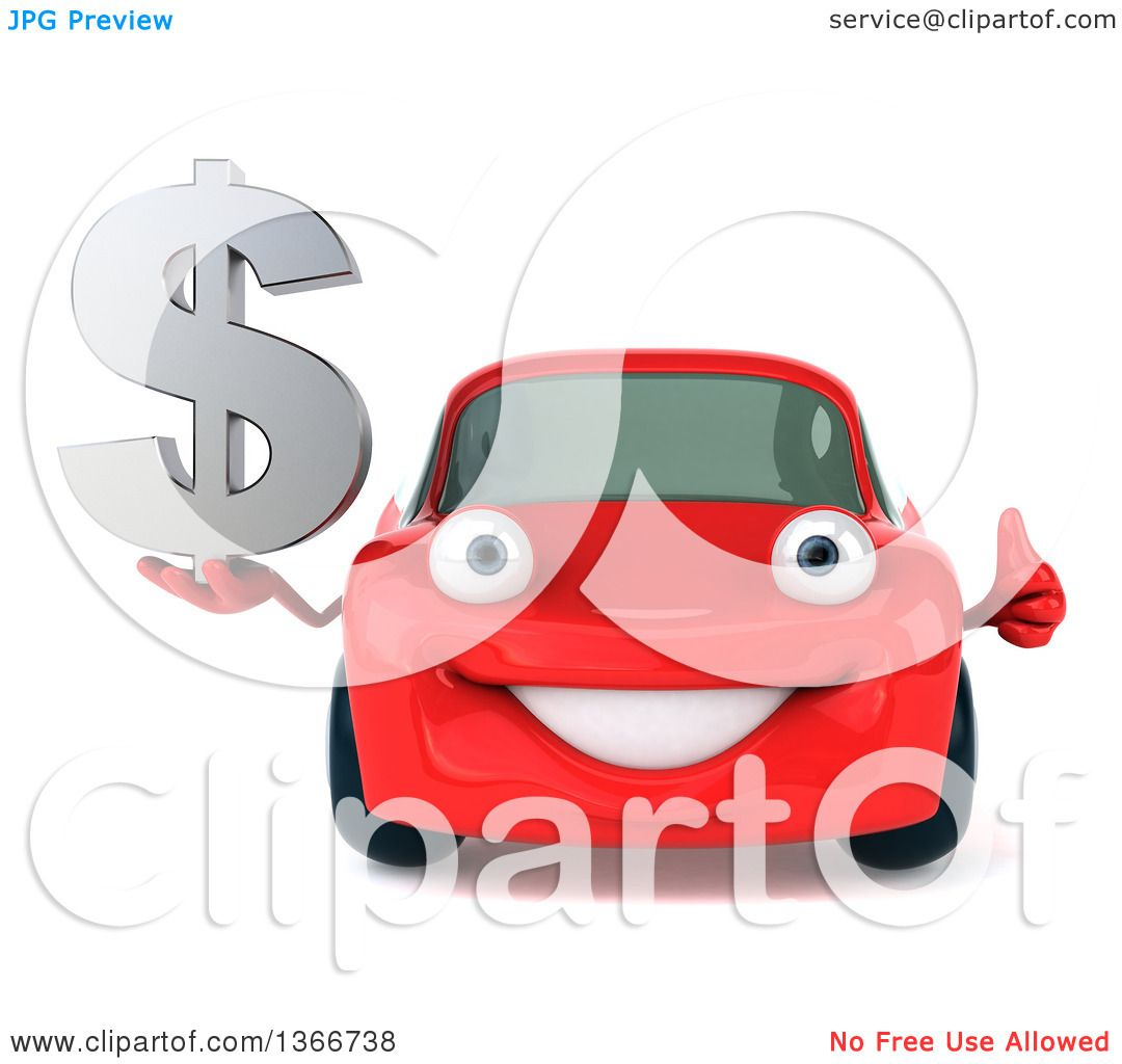 Clipart Of A 3d Happy Red Porsche Car Holding A Thumb Up And Dollar Currency Symbol Royalty