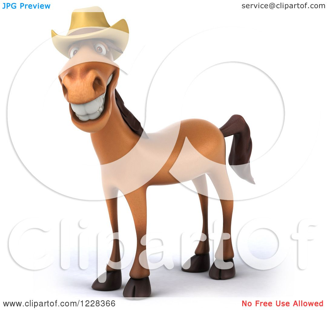 Clipart Of A 3d Happy Smiling Horse Wearing Cowboy Hat Royalty Free Illustration By Julos