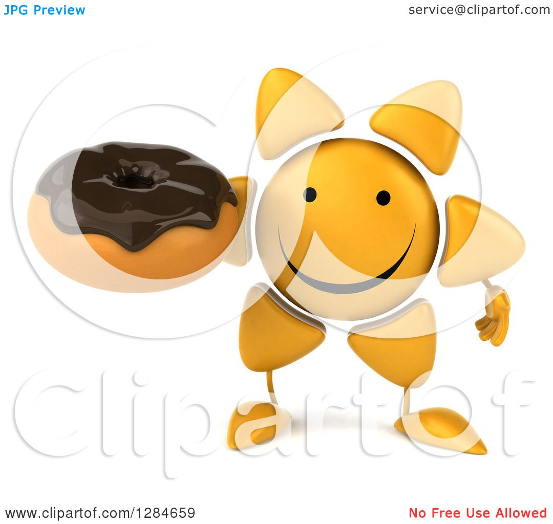 Clipart of a 3d Happy Sun Character Holding a Chocolate ...