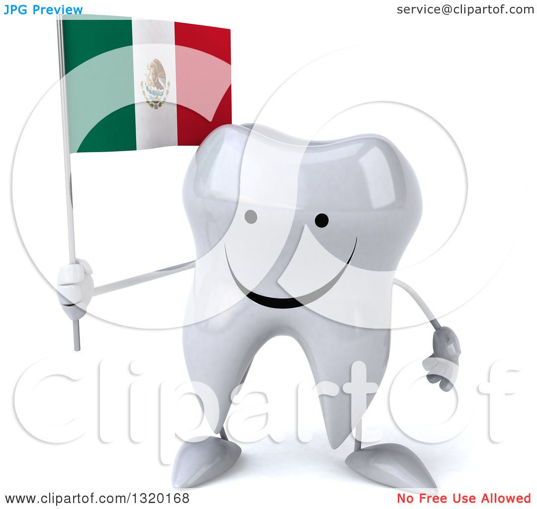clipart of a 3d happy tooth character holding a mexican flag