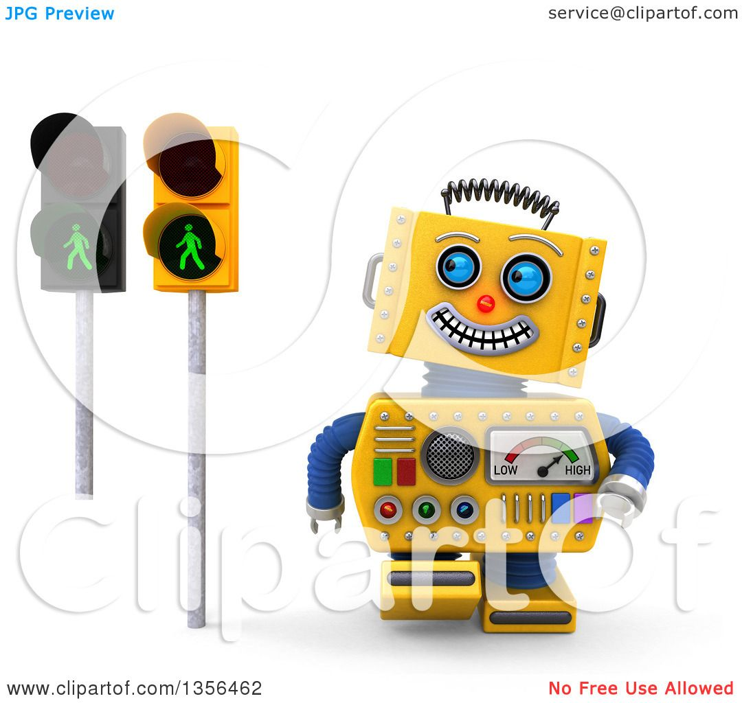 Clipart of a 3d Happy Yellow Retro Robot Glancing at Green ... for pedestrian traffic light clipart  143gtk