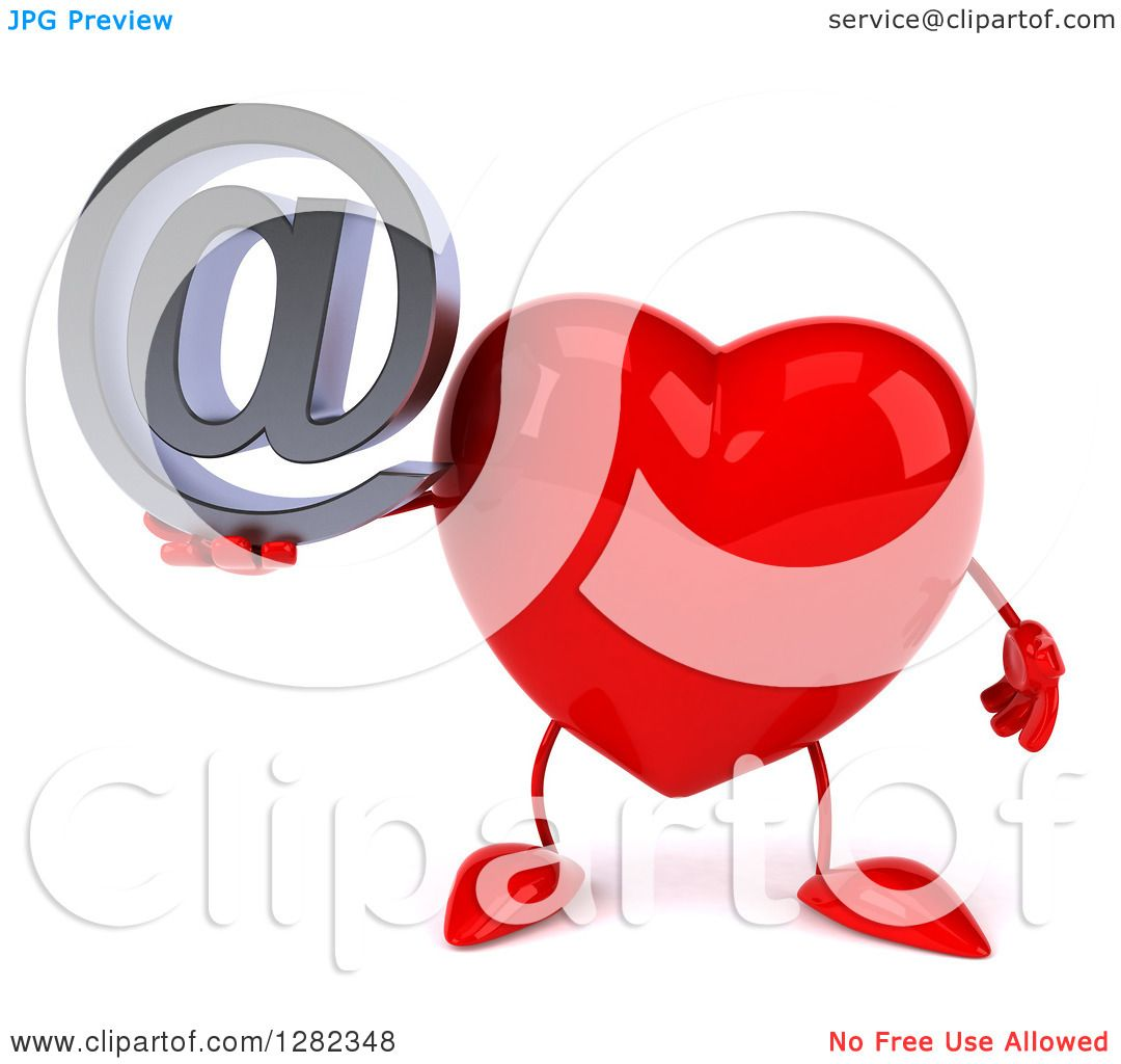 Clipart Of A 3d Heart Character Holding An Email Arobase At Symbol