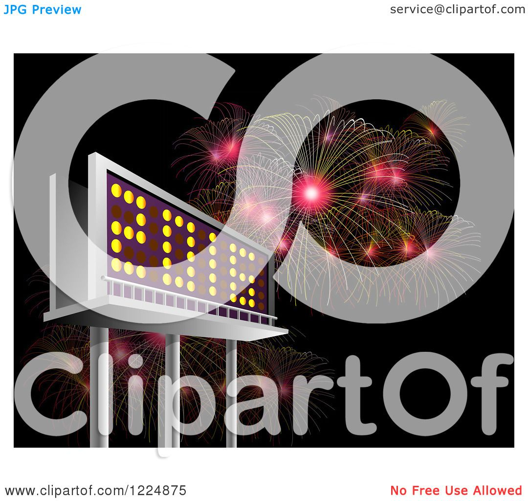 ... 2016 New Year Billboard and Bursting Fireworks at Night - Royalty Free