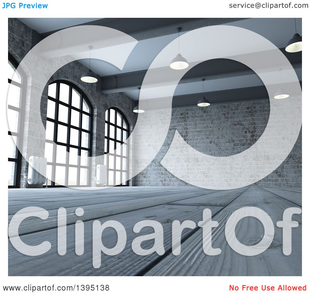 Clipart Of A 3d Industrial Warehouse Loft Interior With
